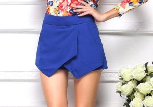 Синяя юбка-шорты