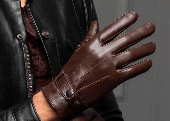 Перчатки мужские коричневого цвета