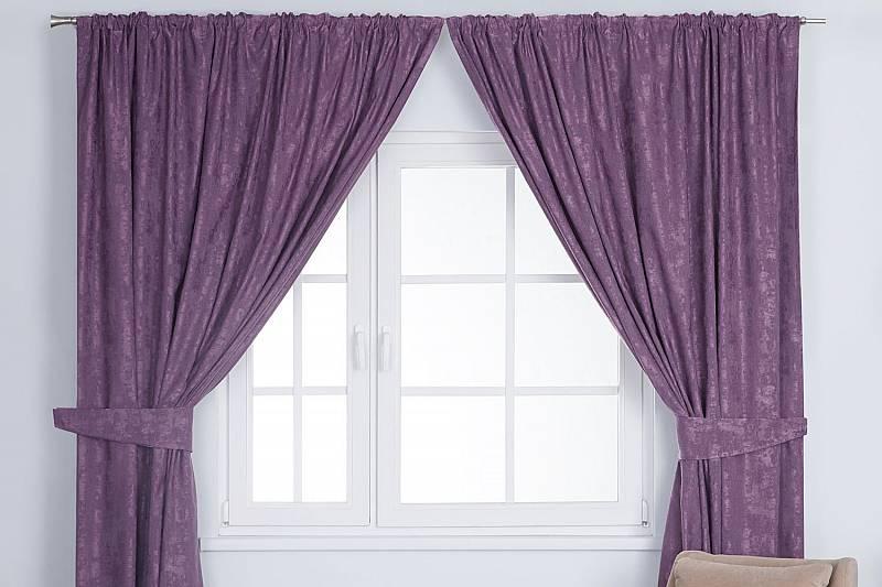 Фиолетовые шторы на рынке Садовод